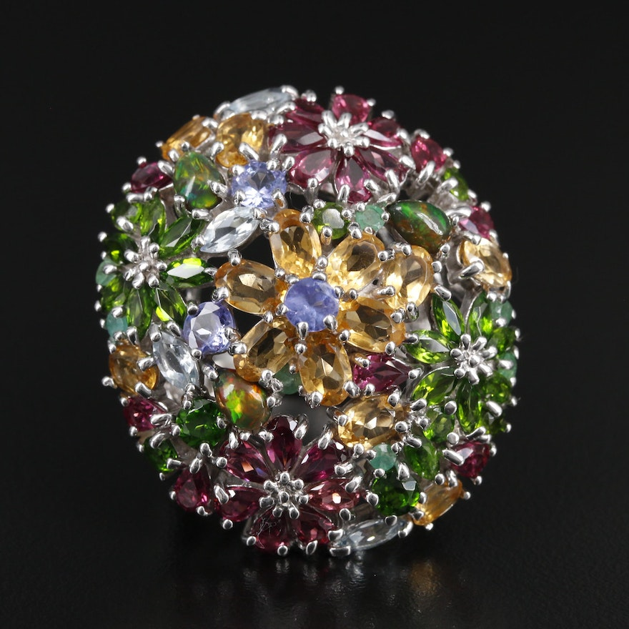 Sterling Silver Floral Dome Ring with Tanzanite, Citrine and Rhodolite Garnet