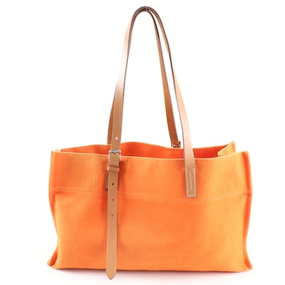 Orange Canvas and Tan Leather Tote Bag
