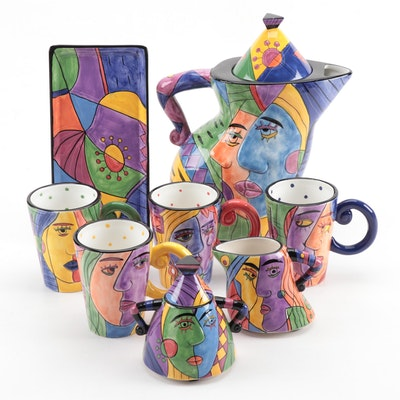 Muzeum Cubist Style Hand-Painted Ceramic Pitcher, Mugs, Creamer, and Sugar Bowl