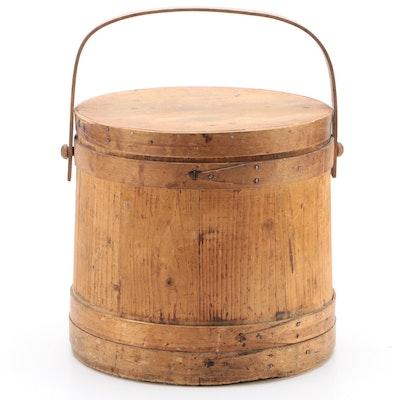 Oak Slat Firkin Sugar Bucket With Bentwood Slats and Rose Head Nails, 1900s
