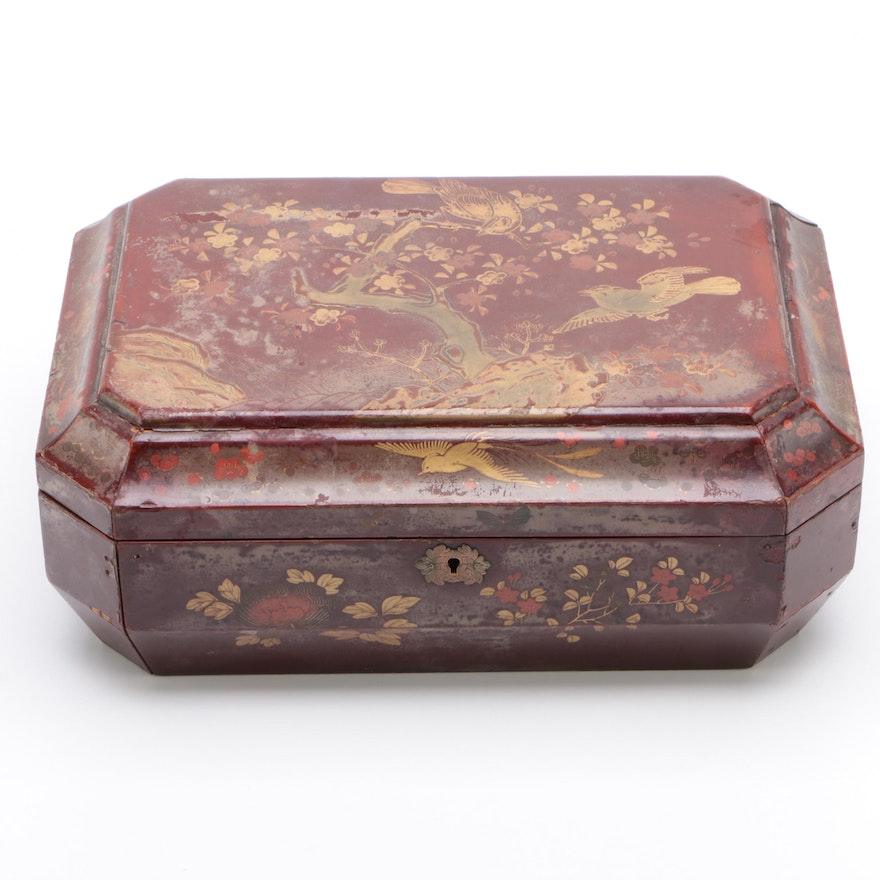 Chinese Red and Black Lacquered Sewing or Work Box