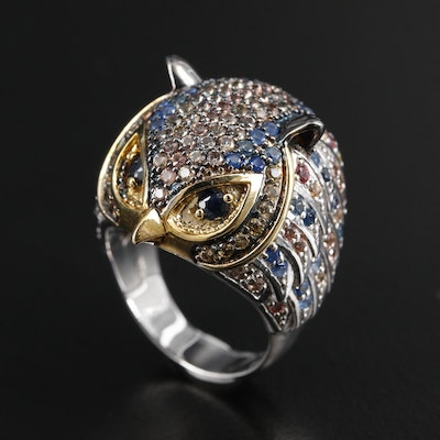 Sterling Silver Sapphire Owl Ring