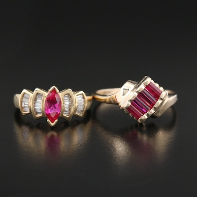 10K Gold Rings with Synthetic Ruby and Diamonds