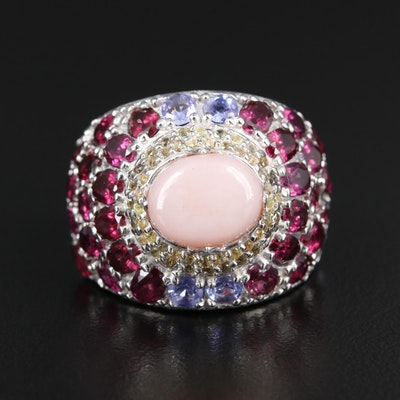 Sterling Ring with Common Opal, Rhodolite Garnet and Tanzanite