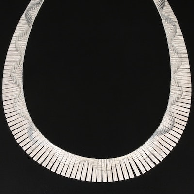 Milor Sterling Patterned Collar Necklace