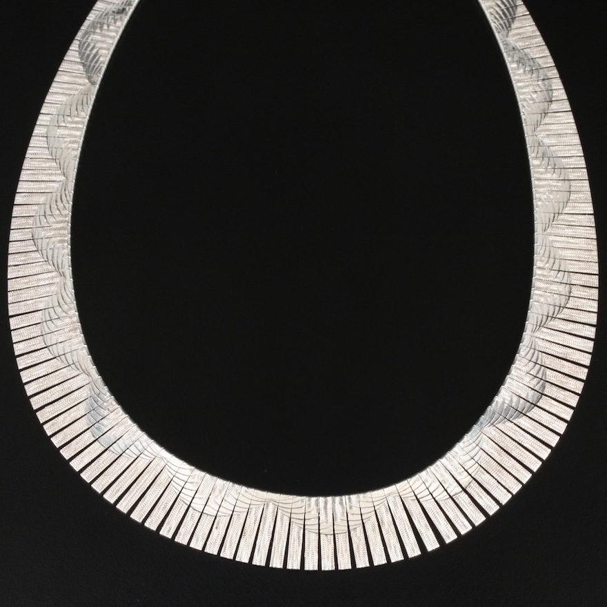 Milor Sterling Patterned Collar Necklace