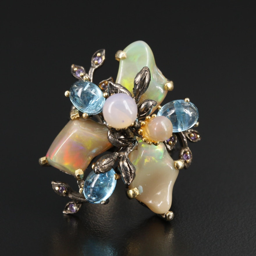 Sterling Silver Foliate Motif Ring with Opal, Apatite and Amethyst