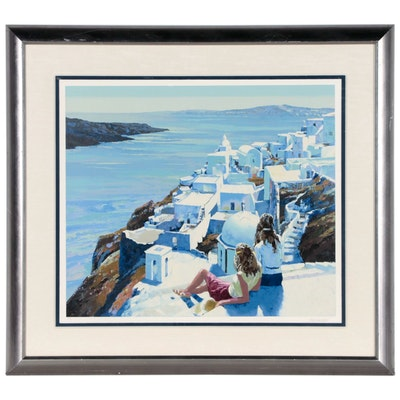Howard Behrens Serigraph of Greek Cityscape