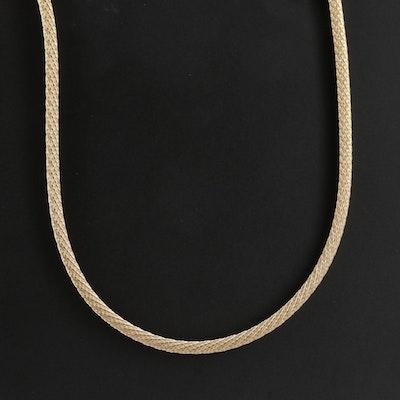 14K Gold Round Foxtail Mesh Necklace