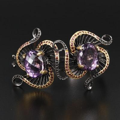 Sterling Silver Amethyst and Rhodolite Garnet Bracelet