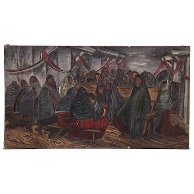 "Doris Rosenthal Oil Painting ""El Mitlin"", Early 20th Century"