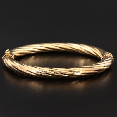 Sterling Twisted Oval Spring Hinge Bangle