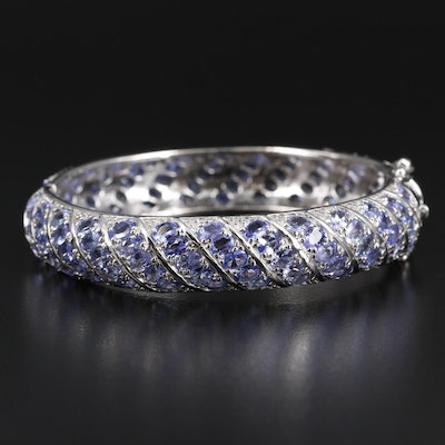 Sterling Silver Tanzanite Bangle Bracelet