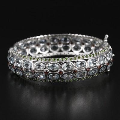 Sterling Silver Aquamarine, Garnet and Diopside Bracelet