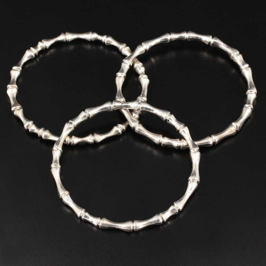 800 Silver Bamboo Bangle Bracelets with Pouch