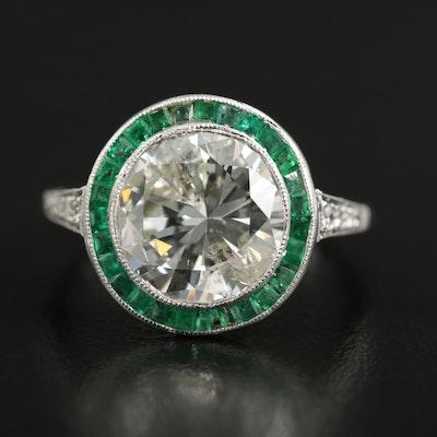 Art Deco Platinum 4.12 CTW Diamond and Emerald Ring