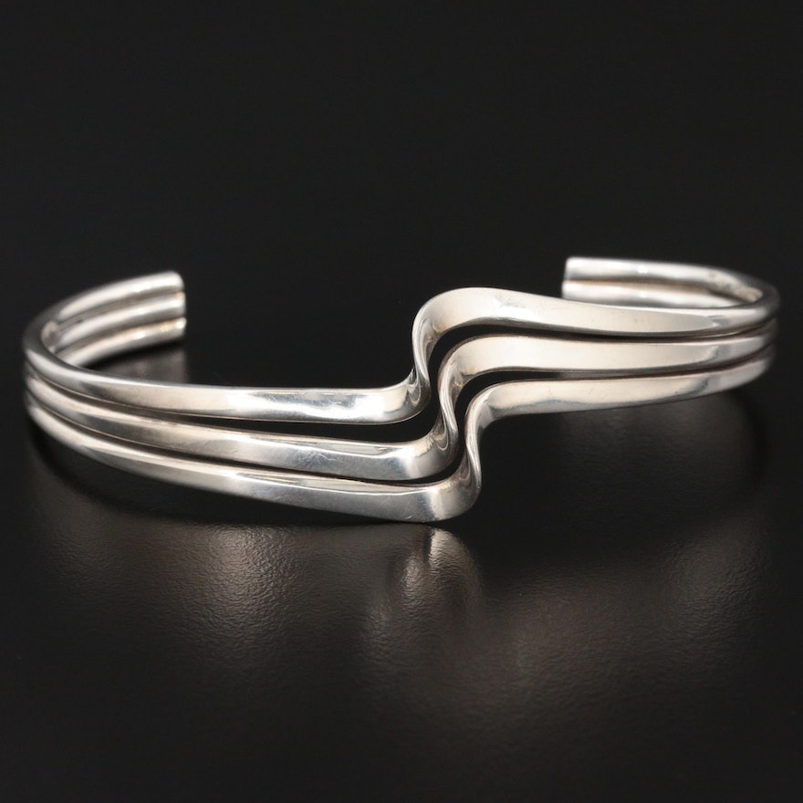 Taxco Mexico Sterling Wave Bracelet