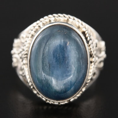 Sterling Oval Corundum Cabochon Ring with Rope Detailing