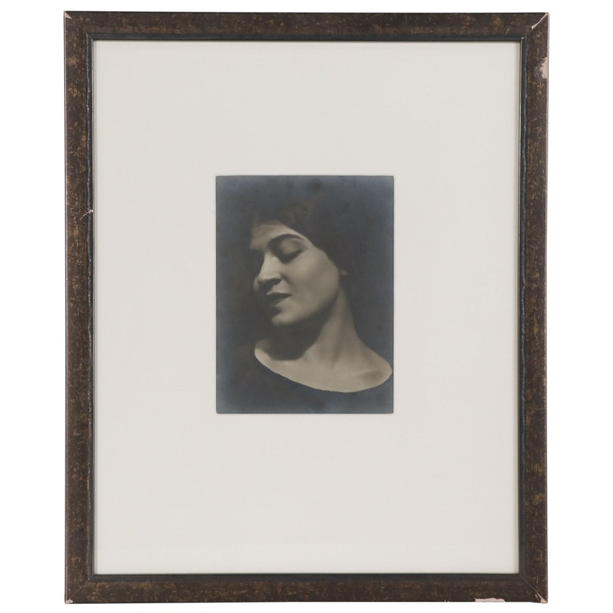 """Edward Weston Platinum Print Photograph """"Tina Reciting"""", 1924"""
