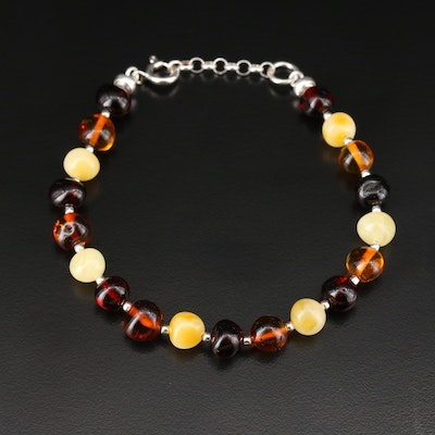 Beaded Multicolor Amber Bracelet with Sterling Findings