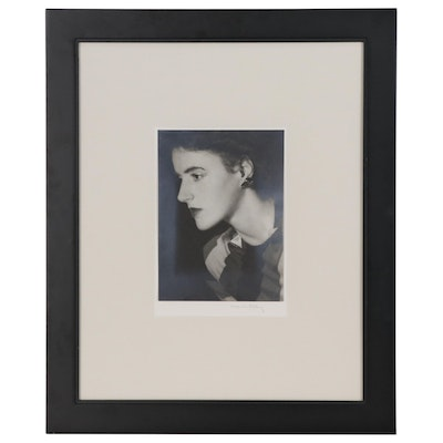 "Man Ray Platinum Print ""Portrait of Andrée Wildenstein Dormeuil"", circa 1935"