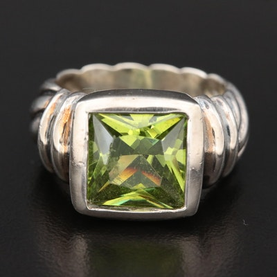 Sterling Green Faceted Glass Ring