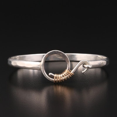 Sterling Silver Bangle Bracelet with Wire Wrap Accent