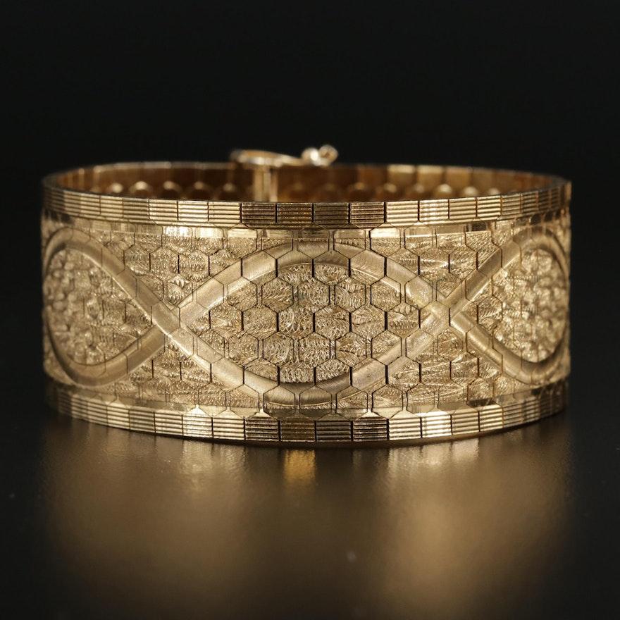18K Gold Textured Octagonal Link Bracelet