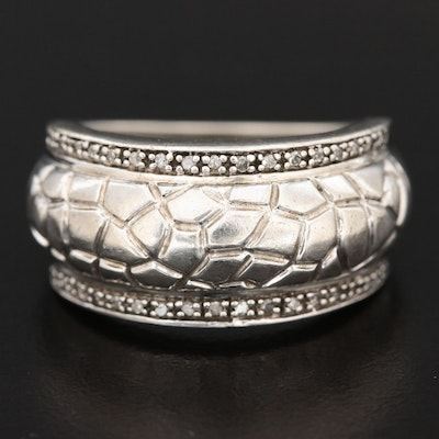 Sterling Silver Diamond Textured Band