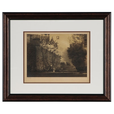 Arnold Genthe Toned Silver Print of Garden Steps, 1933