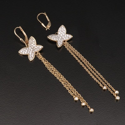 Sterling Silver Cubic Zirconia Butterfly Dangle Earrings