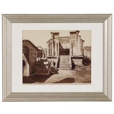 "Giorgio Sommer Albumen Silver Photograph ""Pompei - Tempio d'Iside"""