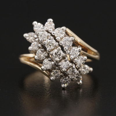 14K Gold Diamond Waterfall Ring