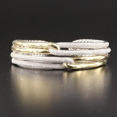 "David Yurman ""Labyrinth"" Sterling and 18K Gold 2.20 CTW Diamond Double Loop Cuff"