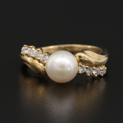 Vintage Mikimoto Cultured Pearl and Diamond Ring
