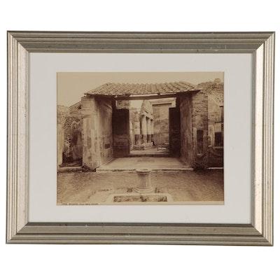 """Giorgio Sommer Albumen Silver Print """"Pompeii - Casa della Caccia"""""""