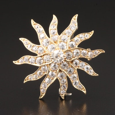 Victorian 14K Yellow Gold 2.58 CTW Diamond Converter Brooch