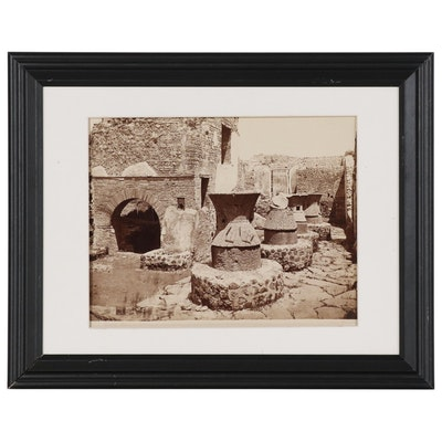 """Giorgio Sommer Albumen Silver Photograph """"Pompei - Casa del Fornai"""""""