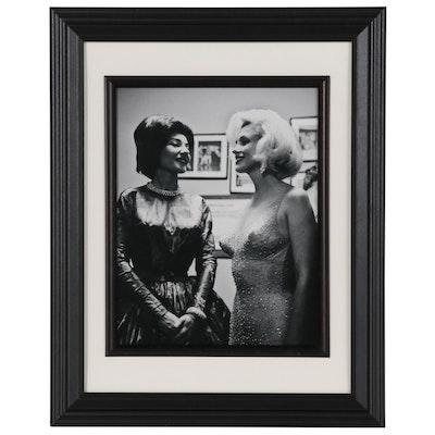 "Victor Helou Silver Gelatin Photograph ""Maria Callas and Marilyn Monroe"""
