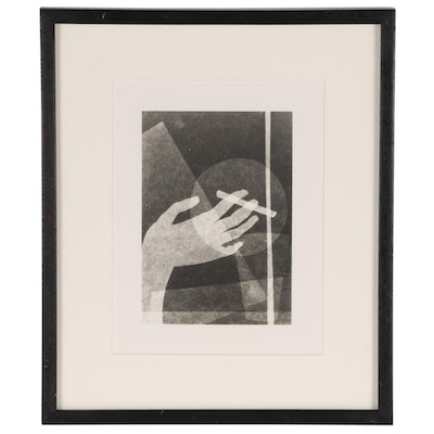 "Oskar Nerlinger Silver Print Photogram ""Hand with Cigarette"""