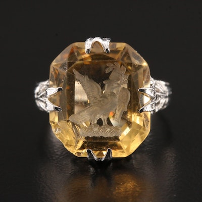 Vintage 14K White Gold Citrine Eagle Intaglio Ring