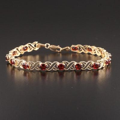 14K Gold Garnet Bracelet