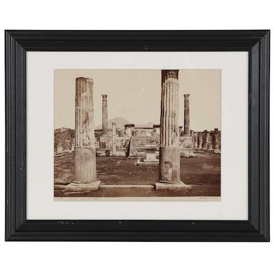 """Giorgio Sommer Albumen Silver Photograph """"Pompei - Tempio di Venere"""""""