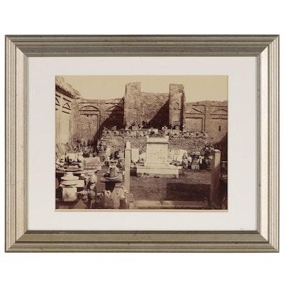 "Giorgio Sommer Albumen Silver Print ""Pompeii - Tempio di Mercurio"""
