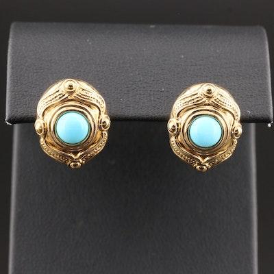 14K Gold Turquoise Earrings