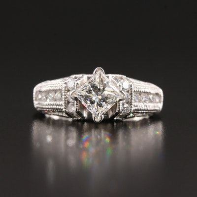 14K White Gold 1.76 CTW Diamond Ring with GIA Report