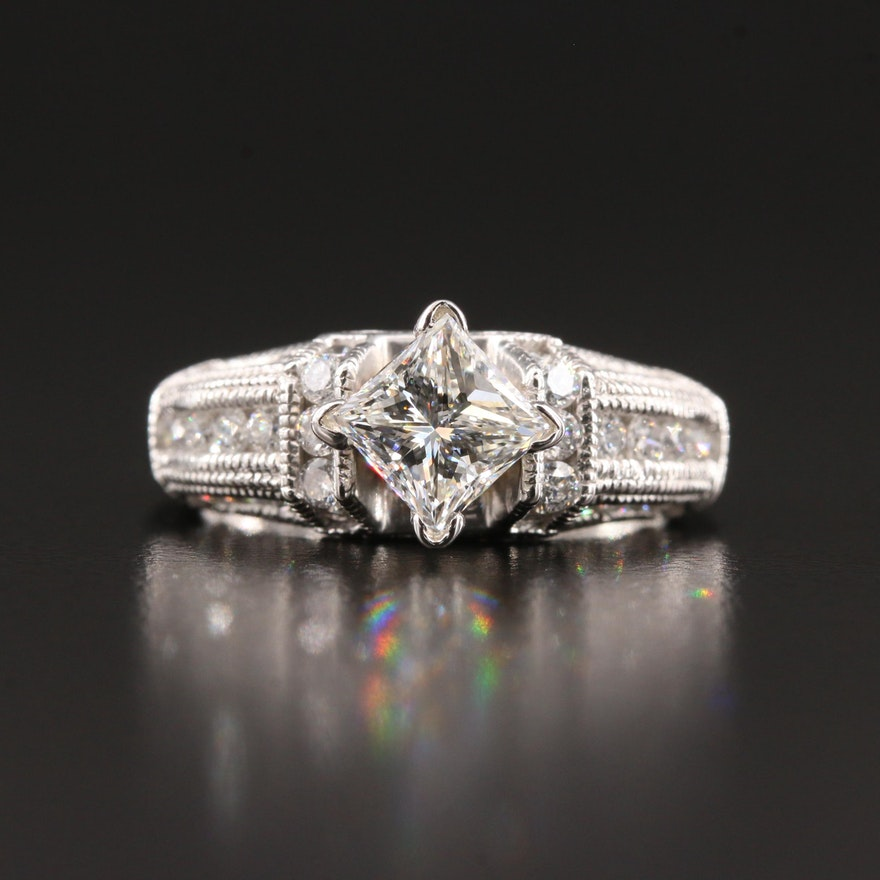 14K White Gold 1.76 CTW Diamond Ring with GIA Report