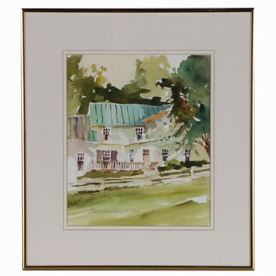 Bruce Allan Neville Landscape with House Watercolor Painting, 2003