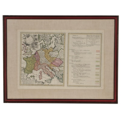 Homann Heirs Engraved Map of Holy Roman Empire under Charles V, circa 1750
