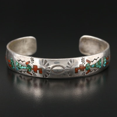 Southwestern Sterling Silver Turquoise and Coral In Resin Cuff